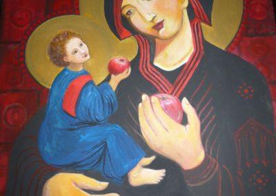 Mária a Gyermekkel és almákkal